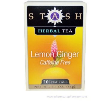 Stash Tea – Lemon Ginger Herbal Tea Caffeine Free X 20 Tea Bags